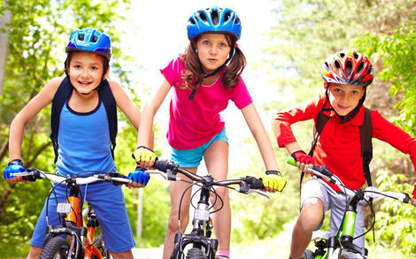 children bicycling